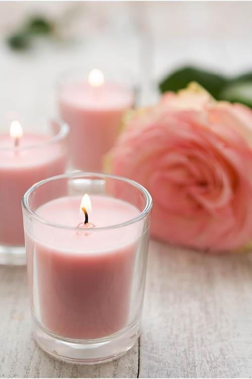 kaarsjes met roos